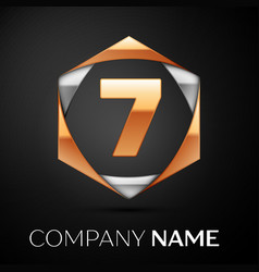 Gold number seven logo in golden-silver hexagonal vector