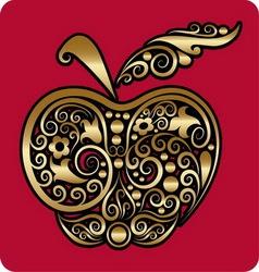 Golden apple ornament vector