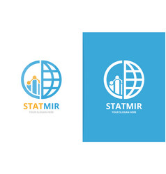 graph and planet logo combination diagram vector image