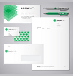 Green building logo and corporate identity vector