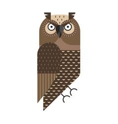 Grumpy owl geometric icon in flat design vector