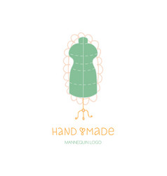 hand made logo tailor dummy mannequin hobby icon vector image