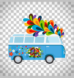 Hippie bus on transparent background vector