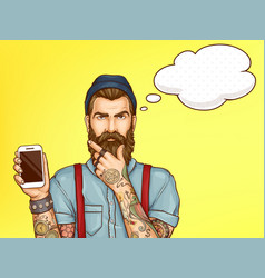 Hipster man showing mobile phone cartoon vector
