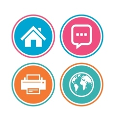 Home main page and globe signs Printer chat vector