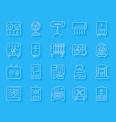 hvac simple paper cut icons set vector image