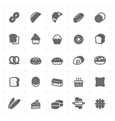 icon set - bakery and bread vector image