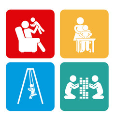 icons set of family vector image