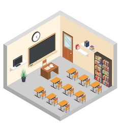 isometric classroom education room teaching vector image