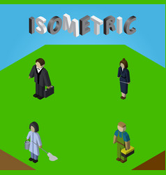 isometric person set of investor housemaid vector image