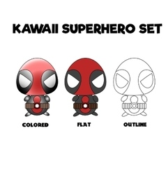Kawaii superhero set vector