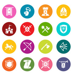 knight medieval icons set colorful circles vector image