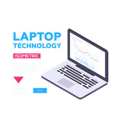 laptop technology banner - modern isometric vector image
