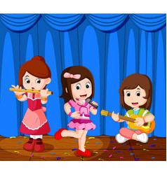 little kids playing music in a music band vector image