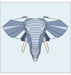 Low poly blue elephant vector