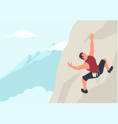 man climbing rock vector image