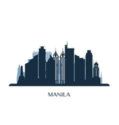 Manila skyline monochrome silhouette vector