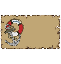marine theme old parchment with anchor vector image