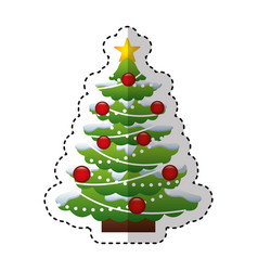 merry christmas tree decorative card vector image