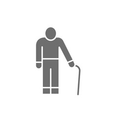 Old man with a cane grandfather pensioner grey vector