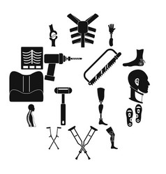 orthopedics prosthetics icons set simple style vector image