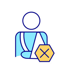 Person with injury rgb color icon vector
