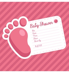 Pink Foot Baby Shower Invitation vector