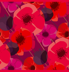 poppy flowers and seed boxes seamless pattern vector image