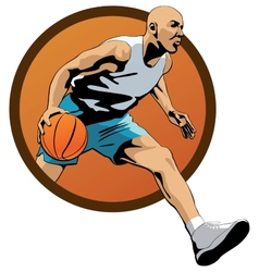 Professional Basketball Player dribbling in jump vector