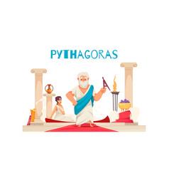 Pythagor doodle greece composition vector
