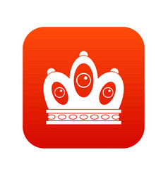 Queen crown icon digital red vector