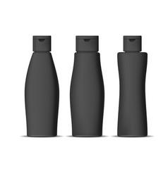 realistic detailed 3d black shampoo bottles set vector image