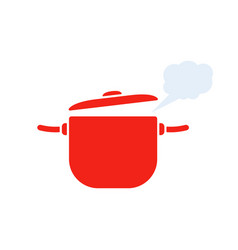 red pan with steam icon vector image