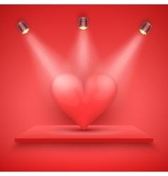 Red Presentation platform and big heart vector