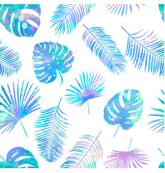seamless color pattern with palm leaves vector image