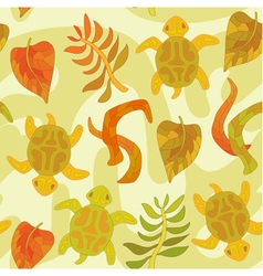 seamless pattern with stylized tortoise and plants vector image
