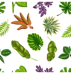 Seamless pattern with tropical plants and leaves vector