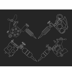 Set 4 tattoo machines chalk on blackboard vector