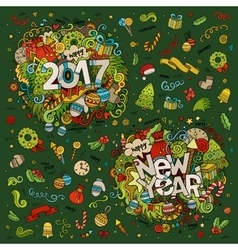 Set of 2017 and New Year hand lettering and vector