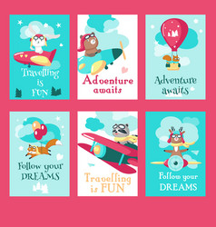 set of cards with pilot animals and travel vector image