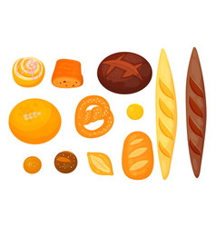 Set of isolated pastry or bakery cereal food vector