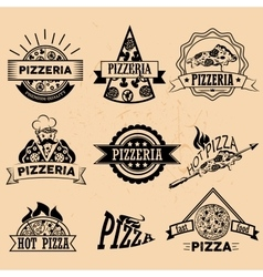 Set of Pizza Labels in vintage style Icons vector image