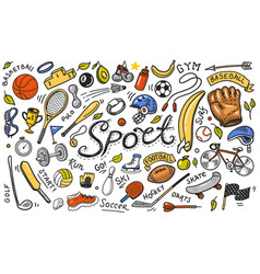 Set sport icons doodle style equipment vector