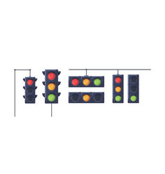 set traffic lights with red yellow and green vector image