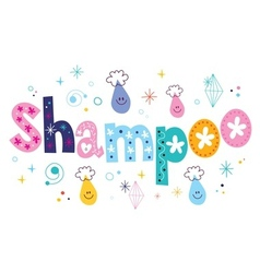Shampoo decorative lettering type design vector image