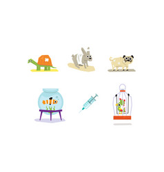 Sick and wounded animals set veterinary care vector
