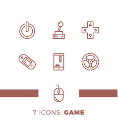 simple set of games related line icons contains vector image