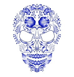 Skull decorated with blue pattern in Gzhel style vector