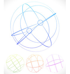 Spherical graphics with wireframe vector