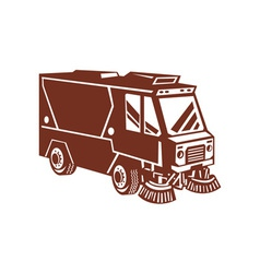 Street sweeper cleaner truck isolated vector
